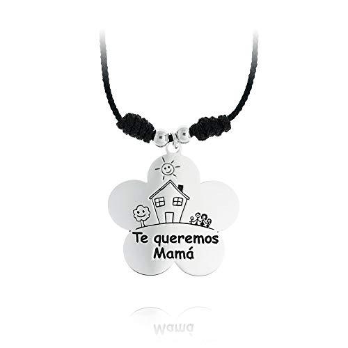 925m Silber Collier Sterling rodiada WE LOVE YOU MOM Makramee-Spitze Blumen-Anhänger Perlen 40cm casita - Anpassbare - AUFNAHME IN PREIS ENTHALTEN