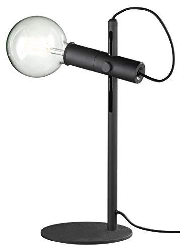 loxomo - metalen tafellamp, 15 x 15 x 43 cm, textielkabel zwart, tafellamp voor slaapkamer, woonkamer, kantoor tot max.60W, decoratieve lamp met E27 stopcontact, IP20, zwart/zwart