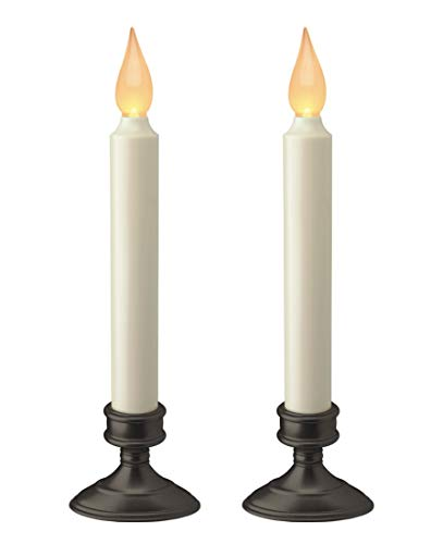 Xodus Innovations Battery Operated LED Window Candle, Dusk to Dawn Light Sensor, Aged Bronze Plastic Base, Amber Flicker Flame, 8 - 7/8 Inch Tall (2 PACK)