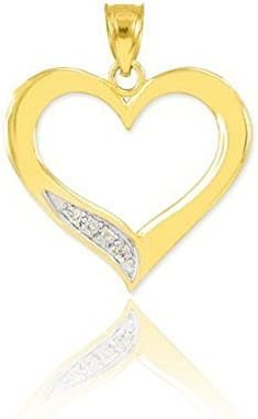 14k Gold Love Charm Open Pendant Choice Diamond Heart mart