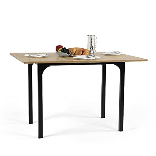MEUBLE COSY Table salle à manger extensible Bureau Informatique Rectangulaire Console Entrée, Chêne, 60-120x90x75-77cm