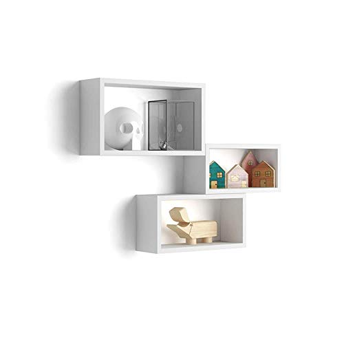 Mobili Fiver, Set de 3 esatantes de Pared rectangulares, Modelo Giuditta, Color Blanco Mate, Aglomerado y Melamina, Made in Italy