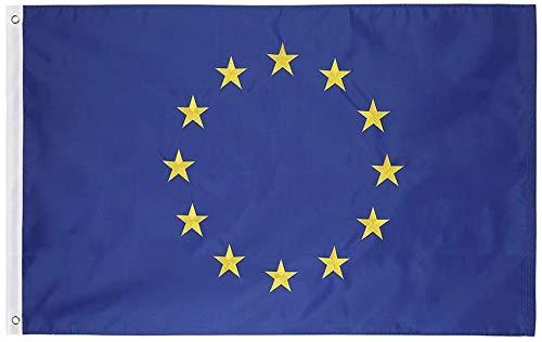Unione Europea (.91 x 1,52 M) 3x5 FT Bandiera in Nylon - Oxford Ricamato 210D Nylon Resistente, Resistente e Duraturo - Orlo a 4 Punti. Colori Vivaci e Resistente Allo Sbiadimento