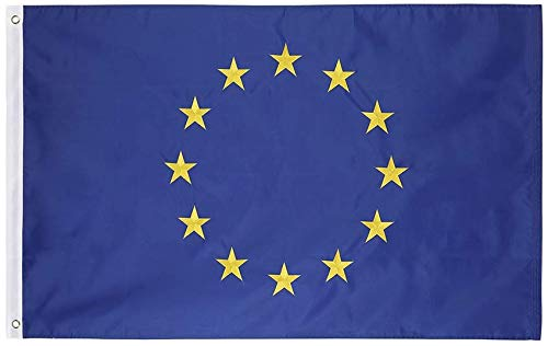 Unión Europea (.91 x 1.52 M) Bandera De Nylon - Nylon Oxford 210D De Alta Resistencia Bordado, Duradero y De Larga Duración - Dobladillo De 4 Puntadas.
