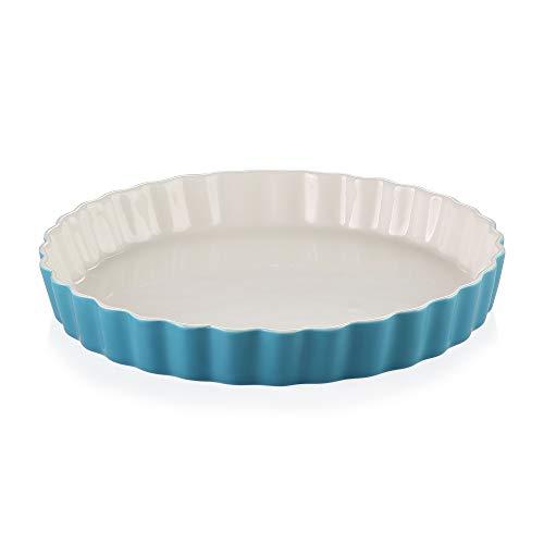 LOVECASA Auflaufform rund, Tarteform aus Porzellan, runde Quicheform Kuchenform, 27,5 x 27,5 x 3,8 cm, 1100 ml