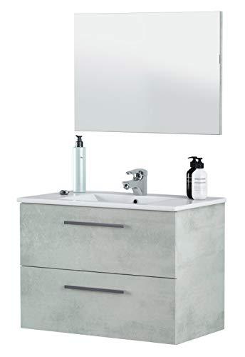 Miroytengo Mueble baño y Espejo Plutón 2 cajones diseño Moderno Cemento 80x45x57 cm Incluye Lavabo Cerámico