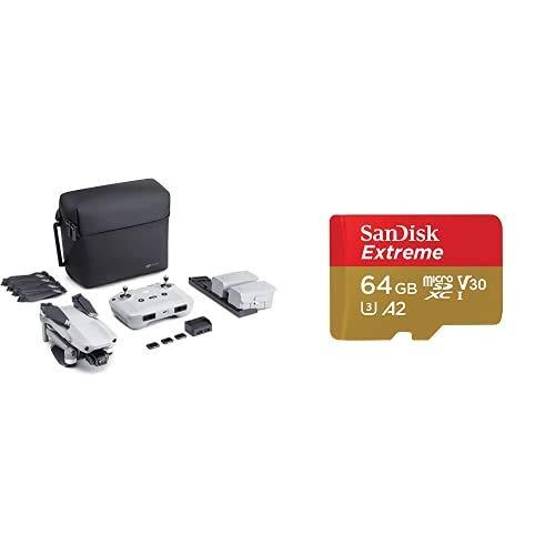DJI Mavic Air 2 Combo Fly More y Care Bundle - Drone + SanDisk Extreme - Tarjeta de Memoria MicroSDXC de 64GB con Adaptador SD, Con Care Refresh