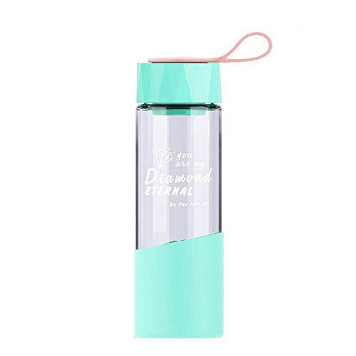 JIHUDAHG - Botella de Agua de Cristal de borosilicato (500 ml, con Funda Protectora de Silicona, antiquemaduras, sin BPA, Apta para Viajes, Escuela, Oficina, Gimnasio, 500 ml), Color Verde