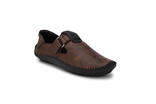 Big Fox Roman Sandals for Men, Blue/Brown, Synthetic Leather, Hook & Loop Closure Casual Footwear. (8, Dark Brown)