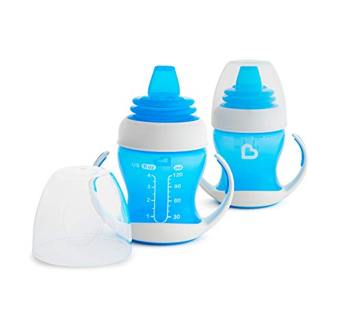 Munchkin 2 Piece Gentle Transition Trainer Cup, 4 Ounce, Blue