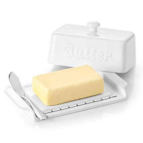 DOWAN Butter Dish With Knife, Ceramic Butter Dishes with Covers and Measurements, Dishwasher & Microwave Safe Large Butter Dish Perfect for 2 Sticks of West or East Coast Butter