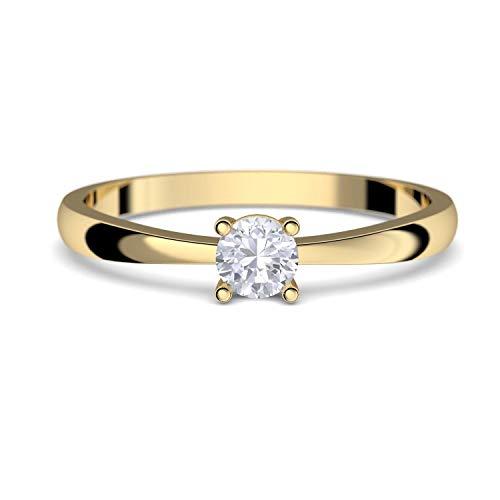Verlobungsringe Gold 333 *** GRATIS LUXUSETUI *** Goldring 333er Gold Ring echt von AMOONIC mit Zirkonia Stein Goldring Gelbgold wie Verlobungsring Diamant Ring Gold Solitär FF385GG333ZIFA58