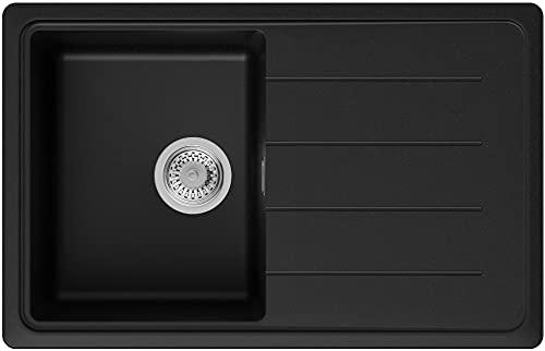 PRIMAGRAN Fregadero de Granito 78 x 50 cm, Lavabo Cocina Un Seno + Sifón Clásico, Fregadero Empotrado Copenhague 780, Negro