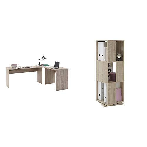 FMD Möbel Winkelschreibtisch Till | In Eiche | 205 x 76 x 65 / 155 cm | 351-001