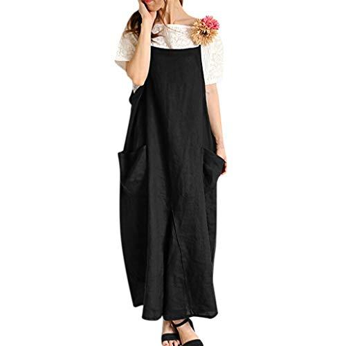 LOPILY Damen Partykleid Sommerkleider Einfarbig Einfach Bequem Freizeit Lose Tunika Blusenkleider mit Taschen Beiläufig Strand Übergröße Schlinge T-Shirt Kleid(Schwarz,DE-46/CN-2XL)