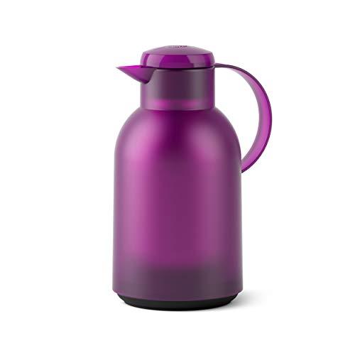 Emsa SAMBA Isolierkanne Quick Press, Kanne, Teekanne, Kaffeekanne, Kaffee, Kunststoff, Transparent-Aubergine, 1.5 L, N4011800