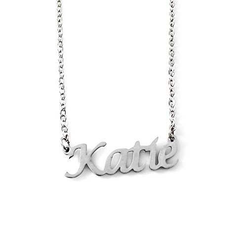 Katie Personalized Name - Silver Tone Necklace - Adjustable Chain 16' - 19' Packaging