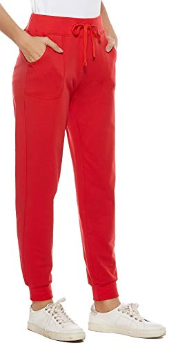 AvaCostume Women's Cotton Stretch Active Jersey Jogger Pants with Pockets Red M