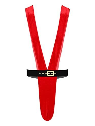 Choomomo Mens One Piece Christmas Mankinis Reindeer Bulge Pouch Suspender Thongs Underwear Red Medium