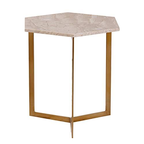 Tables Nordic Maison en Fer forgé Petite Basse Salon d'appoint Chambre Mini Basse bibliothèque d'étude Balcon Hexagonal Stand de Fleurs (Color : Gold, Size : 40cm*47cm)