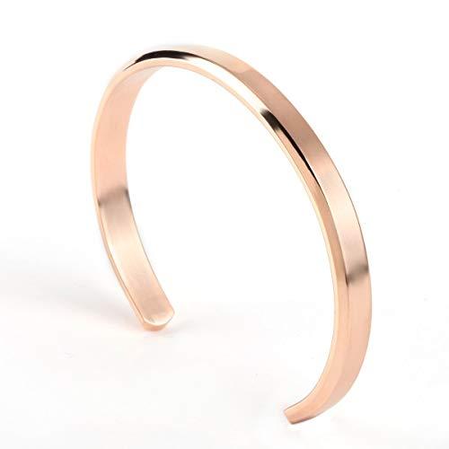 weichuang Pulseras de acero inoxidable para hombre y mujer, pulsera de oro Love Viking unisex, joyería de lujo para mujer (diámetro de 58 mm, 60 mm, color del metal: oro rosa).
