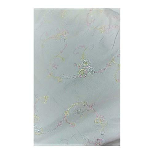 Tela de gabardina de algodón elástico en la cintura bordado de flores y ramas de hasta 150 cm - Multicolore
