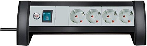Preisvergleich Produktbild 3er Sparpack Brennenstuhl Premium-Office-Line Steckdosenleiste 4 -fach schwarz / lichtgrau mit Schalter