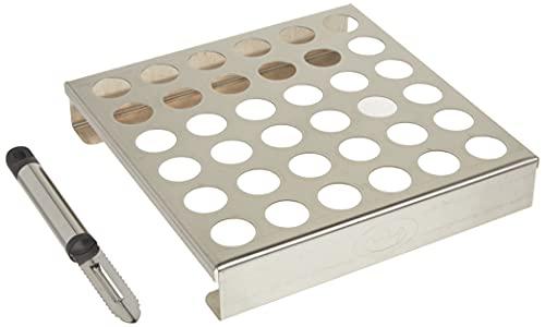 King Kooker 36JR Stainless-Steel 36-Hole Jalapeno Rack with Corer