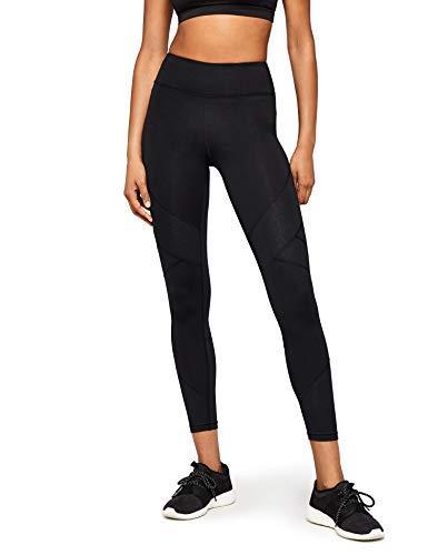 Marca Amazon - AURIQUE Leggings de Deporte con Panel con Textura Mujer, Negro (Black Black), 42, Label:L