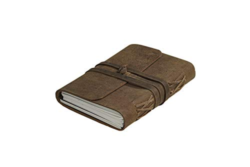 Leather Handmade Journal Unlined Paper Pages- Leather Brown Tan, Bound Writing Notebook (5x7 in), Leather Journal for Men & Women, Travel Journal Notebooks & Journals Brown Diary to Write in