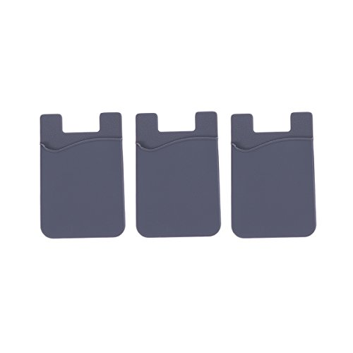 UKCOCO 3pcs Handy Kartenhalter Brieftasche,Silikon Ultra Slim selbstklebende Kreditkarte ID Wallet Case Pouch Sleeve Tasche für iPhone Samsung HuaWei und andere Smartphones (grau)