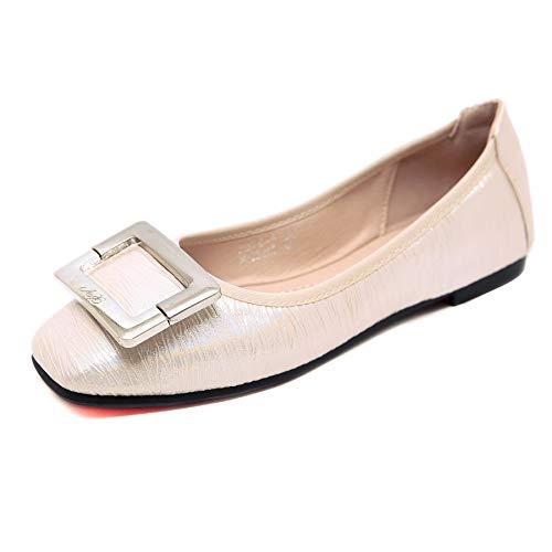 Bailarinas para Mujer, Morbuy Zapatos Bailarinas Básicas Planas de Mujer Zapatos de Primavera Verano Otoño Estilo Metal Plateado