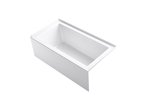 KOHLER K-20202-RA Underscore Rectangle 60-Inch x 32-Inch Alcove Bath with Integral apron, integral flange and right hand drain, White