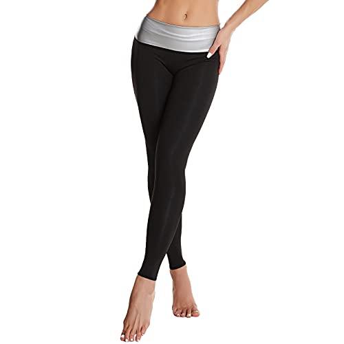 Pantalones para Sudoración Neopreno Mujer Pantalones Sauna Pantalón de Sudoración Leggins Termicos Cintura Alta para Deporte Jogging Yoga Gym (Largos, XXL)