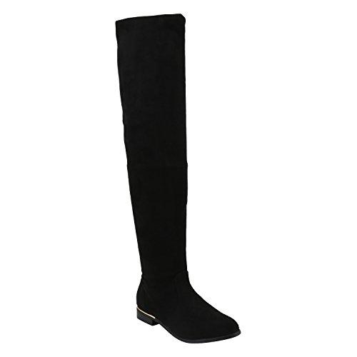 Basic Damen Overknees Schleifen Stiefel Samt Flach Langschaftstiefel Overknee Boots Blockabsatz Schuhe 144221 Schwarz Gold 39 Flandell