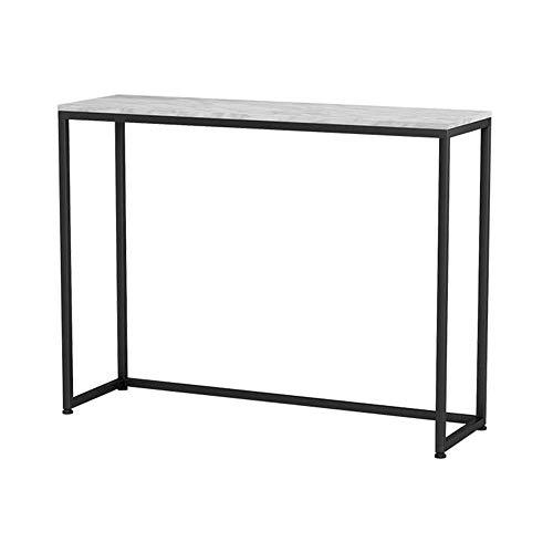 XINTONGSPP Marmor Porch Tisch im Wohnzimmer, Schmiedeeisen Seitenansicht Plattform in Empfangsraum/einfachen Schwarzweiß-Porch Kabinett gegen die Wand, 100 * 75 * 30 cm