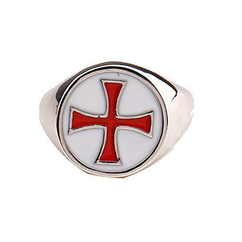 Anillo de videojuego de asesino, símbolo de cruz templaria, serpiente, juego de cosplay, joyería, anillo de Color plateado para hombres11