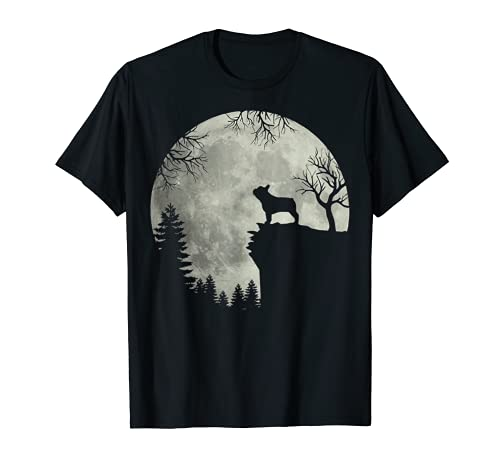 Halloween Dog Frenchie Tee Frenchie Dog Moon Howl In Forest T-Shirt
