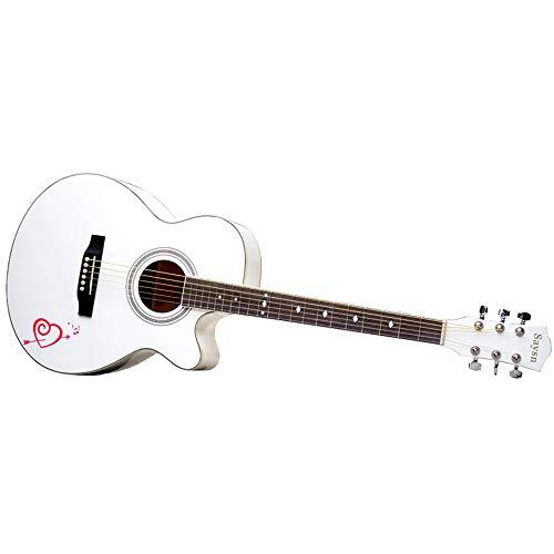 Boll-ATur Akustikgitarre 40 Zoll Anfänger Akustikgitarre Cutaway Akustikgitarre Set-Gitarren-Tasche, Riemen, Capo, Streicher, Love Pattern