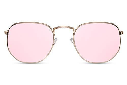 Cheapass Gafas de Sol Gafas Hexagonales Montura Dorada Cristales Rosas Espejados Mujer Protección UV400