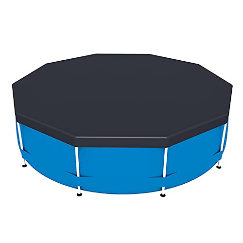 KAKAF Cubierta de piscina para piscina con marco redondo resistente al polvo, resistente al agua, plegable, lona de polietileno para piscinas al aire libre, playa, verano, fiesta, piscina (366 cm)