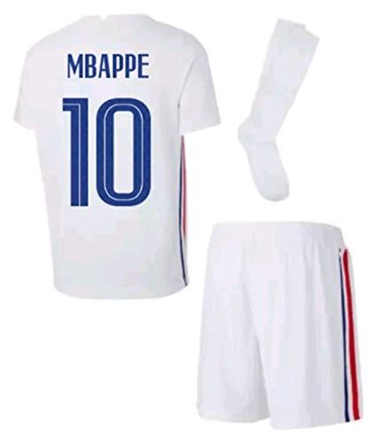 LISIMKEM 2020-2021 Kids/Youths Away Soccer Jersey/Short/Socks Colour White (France Mbappé #10(7-8years/size22))