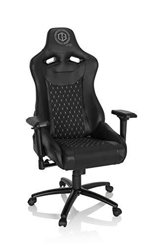 hjh OFFICE 734231 Gaming Stuhl GAMEBREAKER SX 04 Kunstleder/Stoff Schwarz Drehstuhl mit hoher Rückenlehne, Liegefunktion
