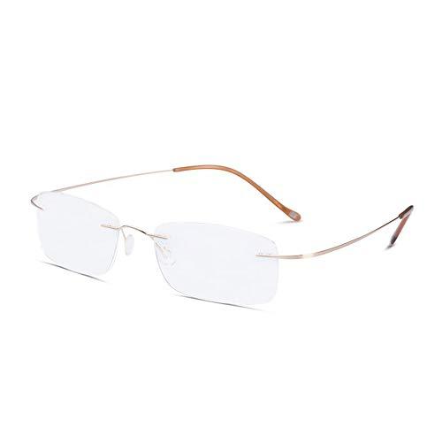 D&XQX Rimless Lezen Bril Progressieve Multifocale Verre en Nabij Dual-Use Titanium Ultralight Lezen Bril Blauw Licht Blokkerende Lezers met lanyard en Draagbare Vergrootglas