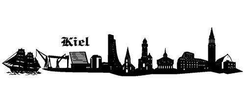 Samunshi® Wandtattoo Kiel Skyline Wandaufkleber in 6 Größen und 19 Farben (120x24cm schwarz)