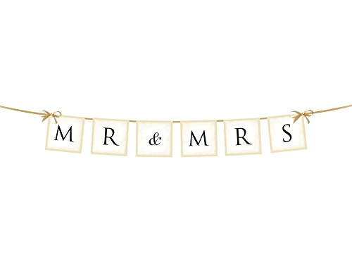 Simplydeko Wimpelkette | Wimpel-Girlande aus Karton (Wimpelgirlande DIY Deko Party Hochzeit Kindergeburtstag) Wunderschönes Design (Hochzeit Mr and Mrs in Creme)