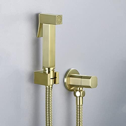 Rociador de pañales de tela para bebé, rociador de bidé portátil de latón para bañar la higiene femenina, grifo de bidé de baño montado en la pared, oro cepillado