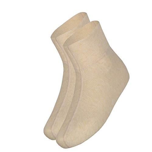 wobera Angora Fußwärmer oder Bettschuhe mit 75% Angora (Gr. 3 (43-46), Farbe: beige mit beigem Bündchen)