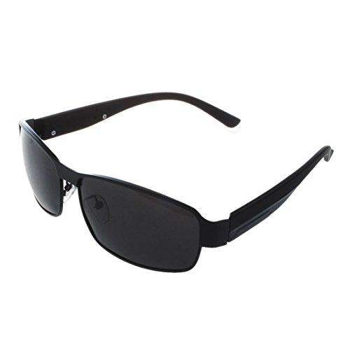 SODIAL Mode conduite verres polarises hommes lunettes de soleil de sports de plein air lunettes-Noir