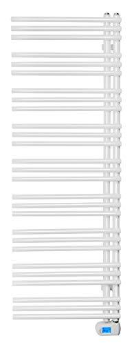 SixBros. elektrischer Badheizkörper, Handtuchwärmer mit regulierbarer Heizpatrone, Elektrobadheizkörper, Thermostat, weiß, 700W, 550x1600 mm R36/8408